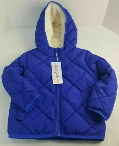 Toddler Size 3T Hooded Blue Quilted Puffer Jacket Sherpa Lined By Cat & Jack NEW