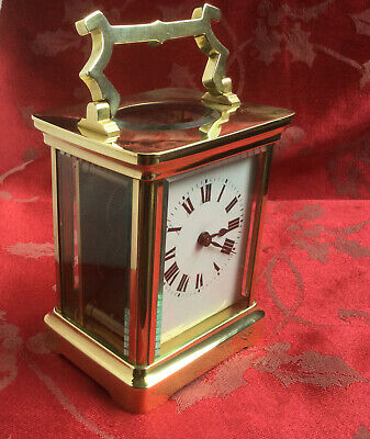 Beautiful Little French  Brass Carriage Clock Running Strong Freepost