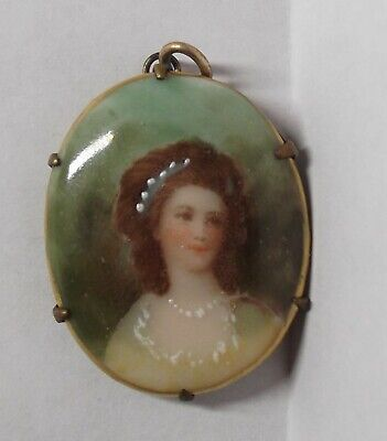VTG Hand Painted Lady Woman Portrait Cameo Pendant Pin Brooch 1.25