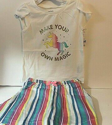 Carters Toddler Girl 3T Skort Outfit Unicorn Tee Shirt Striped Skort New