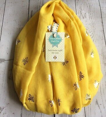 HECTOR HONEY BEE FOIL SCARF YELLOW SILVER SISTER MUM GIFT FRIEND PRESENT BEES