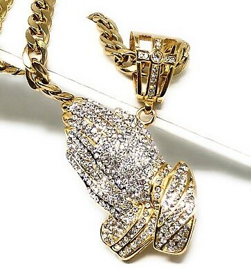Gold Plated Iced Out Hip Hop Big Prayer Hand CZ Pendant 30