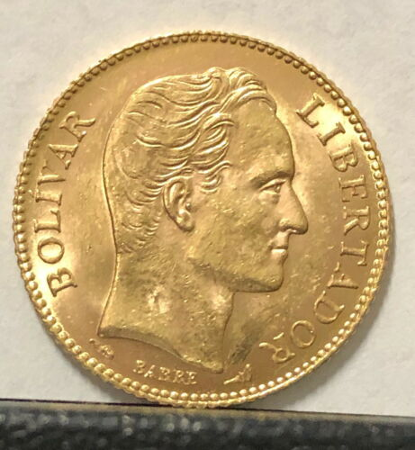 A VENEZUELA 1905 GEM BU 20 GOLD BOLIVARES  [Simon Bolivar-Coat of Arms .1867 agw