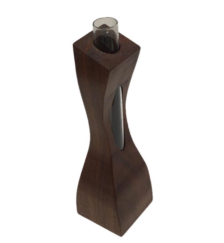 """Vintage 6"""" Bud Vase MCM Danish Modern Art Wood Glass Tube Insert"""