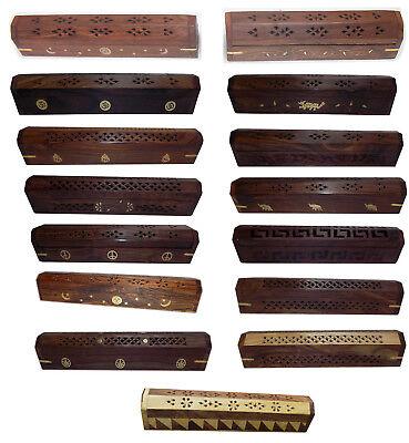 Wooden Carved Coffin Incense Burner Cone Holder Box 12