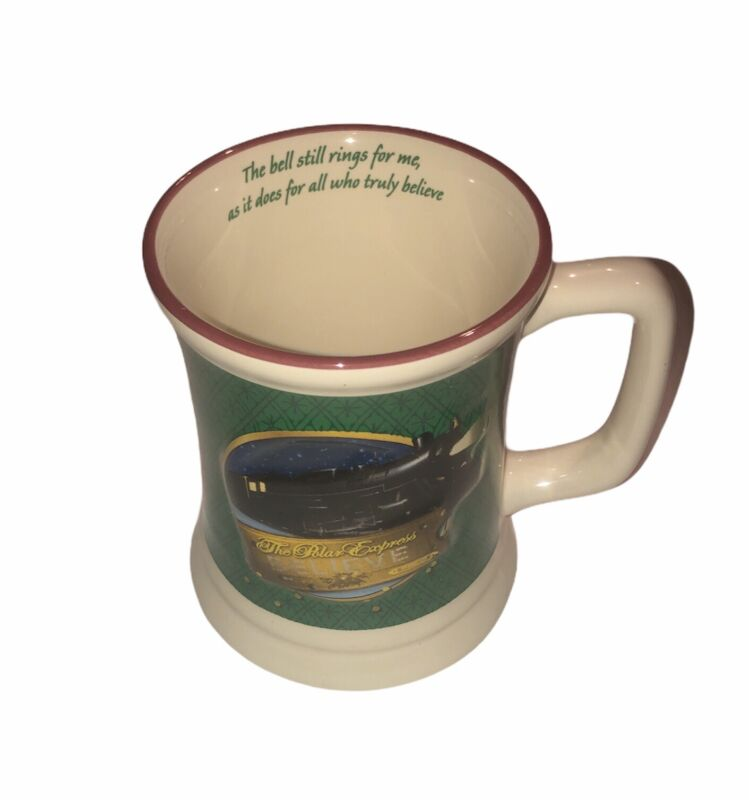 The Polar Express Believe Green & White Hot Chocolate Coffee Mug With 3-D Train
