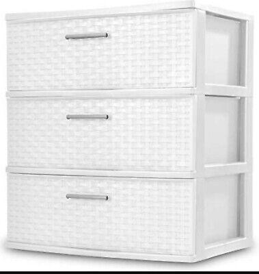 3 Drawer Wide Weave Tower Durable Plastic Storage Organizer Stylish Decorative