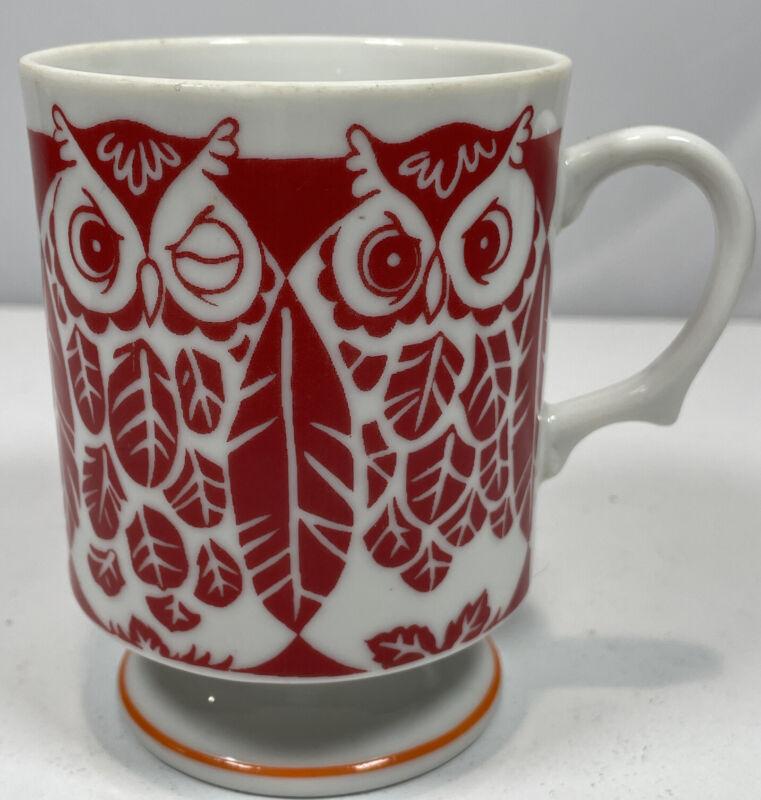 Vintage Japan Red Owl Pedestal Mug Mid Century Modern MCM E-4103