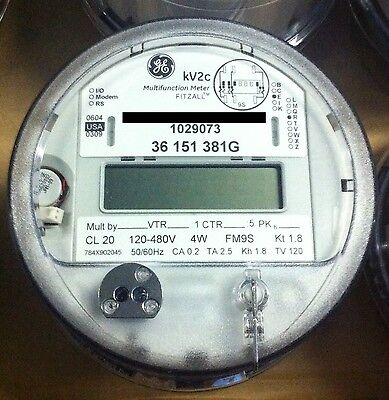 Ge General Electric Watthour Meter Kwh Kv Kv2c Fm9s 13 Lug 4w 120-480v