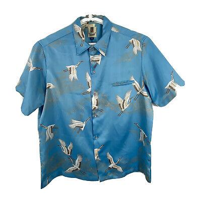1970s Mens Shirt Styles – Vintage 70s Shirts for Guys 1970s Tori Richard Vintage Mens XL Hawaiian Shirt Short Sleeve Polyester Birds $39.99 AT vintagedancer.com