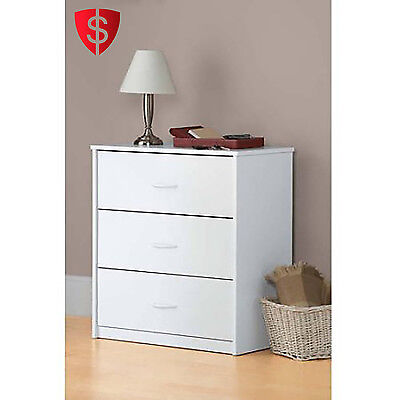 كومودينو جديد Wooden Bedroom Dresser Chest 3 Drawers Modern Wood White Storage Mainstays