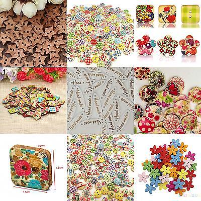 100x Star Heart Flower 2 Holes Wood Sewing Craft Scrapbooking DIY Buttons Sale](Prima Flowers Sale)