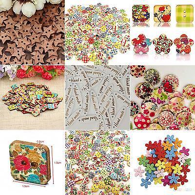 - 100x Star Heart Flower 2 Holes Wood Sewing Craft Scrapbooking DIY Buttons Sale