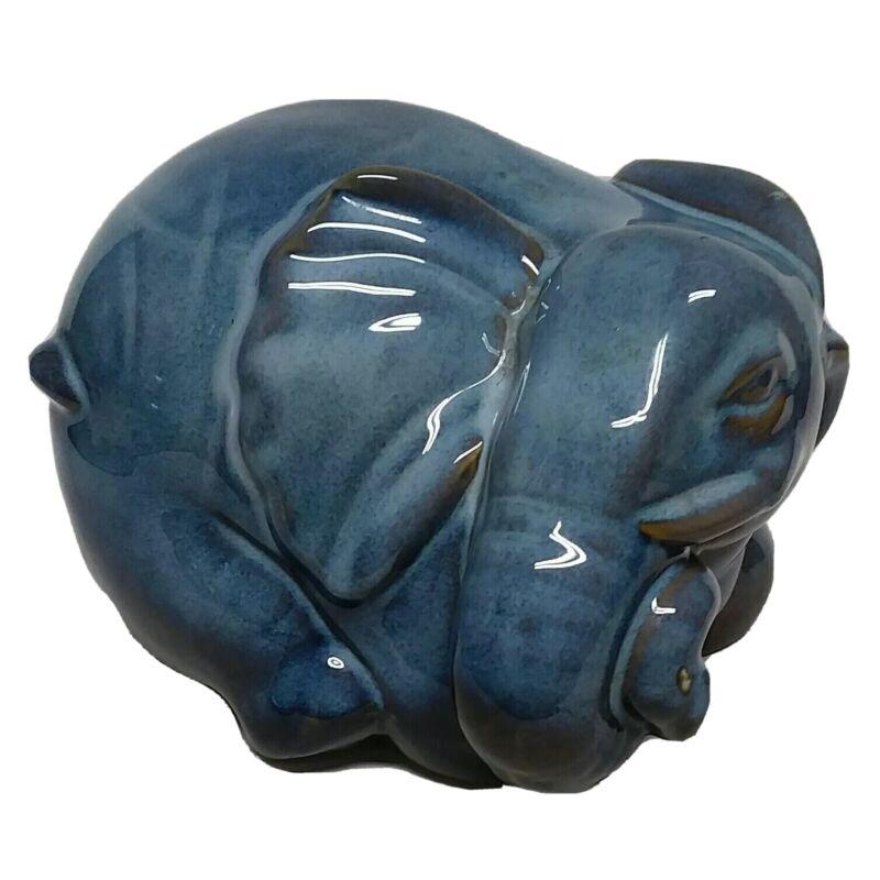 Vintage Ceramic Blue Glazed Pottery Sleeping Elephant Statue / Large Figurine