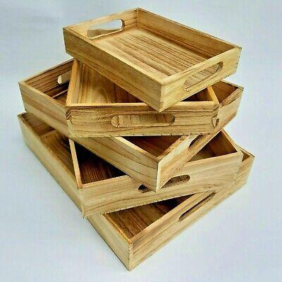 Bandejas madera vintage artesanas marrones / Decoración bandejas 5 unidades