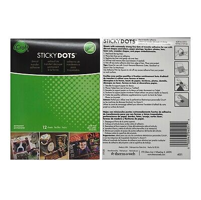 Therm-o-web Sticky Dots Adhesive iCraft 12 Sheets for Die Cuts Permanent Clear](Sticky Web)