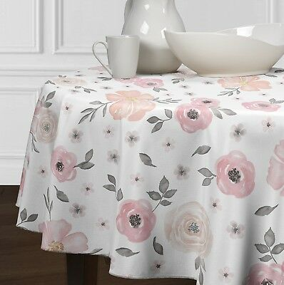 Blush Pink Grey &White Shabby Chic Watercolor Floral Rose Round Tablecloth 72