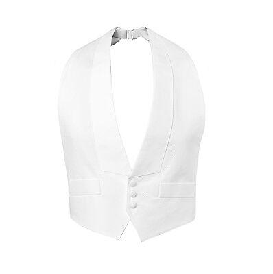 New White Cotton Pique Tuxedo Tails Vest Adjustable Mardi Gras Debutante TUXXMAN - Mardi Gras Tuxedo Vest
