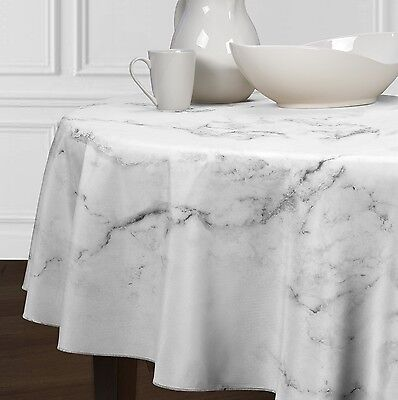 New Black, White & Grey Round Marble Dining Room Kitchen Tablecloths 72