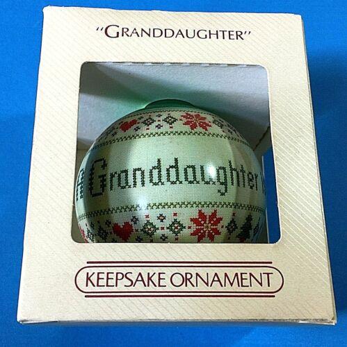"""Hallmark """"Granddaughter"""" Ball Ornament 1984"""