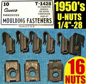 16-NOS-AUVECO-OLD-U-NUTS-1950s-50s-FENDER-MOLDING-TRIM-NUT-1-4-28-Fine-THREAD