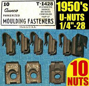 10-NOS-AUVECO-OLD-U-NUTS-1950s-50s-FENDER-MOLDING-TRIM-NUT-1-4-28-Fine-THREAD