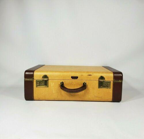 """Vintage Yellow Tweed 21"""" Suitcase 1940"""