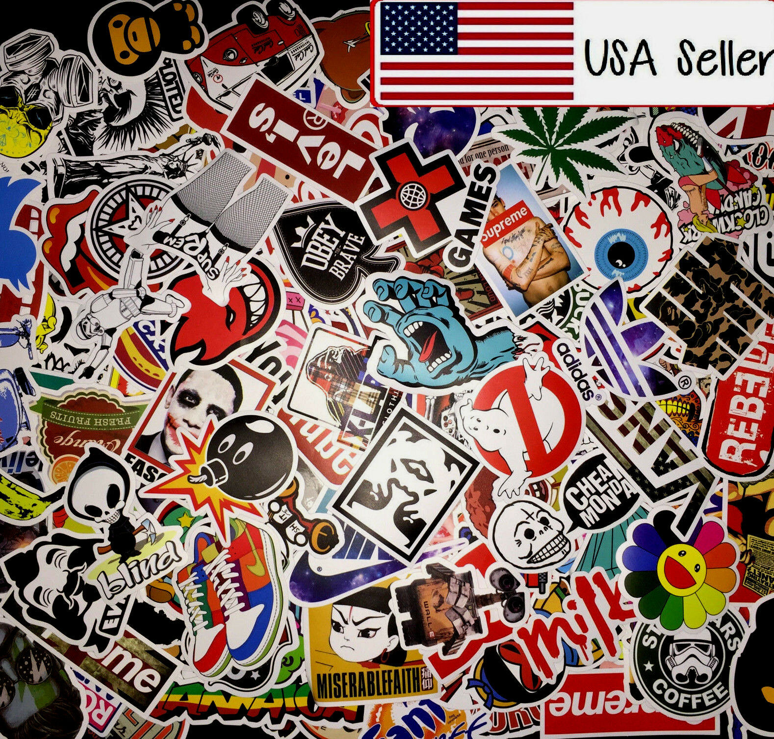 For Kids 100 Random Skateboard Stickers bomb Vinyl Laptop Luggage Sticker Lot