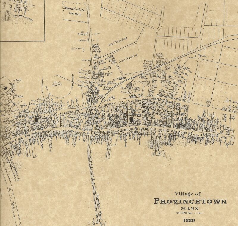 Provincetown MA Cape Cod 1880 Maps with Homeowners Names Shown