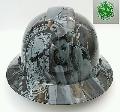 Full Brim Hard Hat Custom Hydro Dipped Osha Approved Bad Bones Club Grey