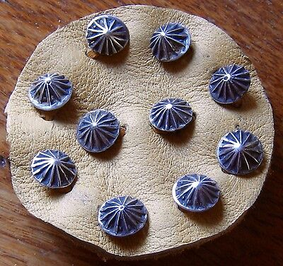 "10 - 3/8""  SILVER STAMPED FLUTED BUTTONS (NAVAJO STYLE)"