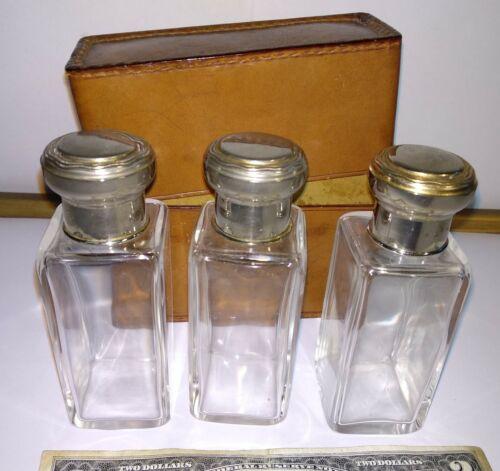 3 antique perfume German glass bottles in original travel leather case Geschützt