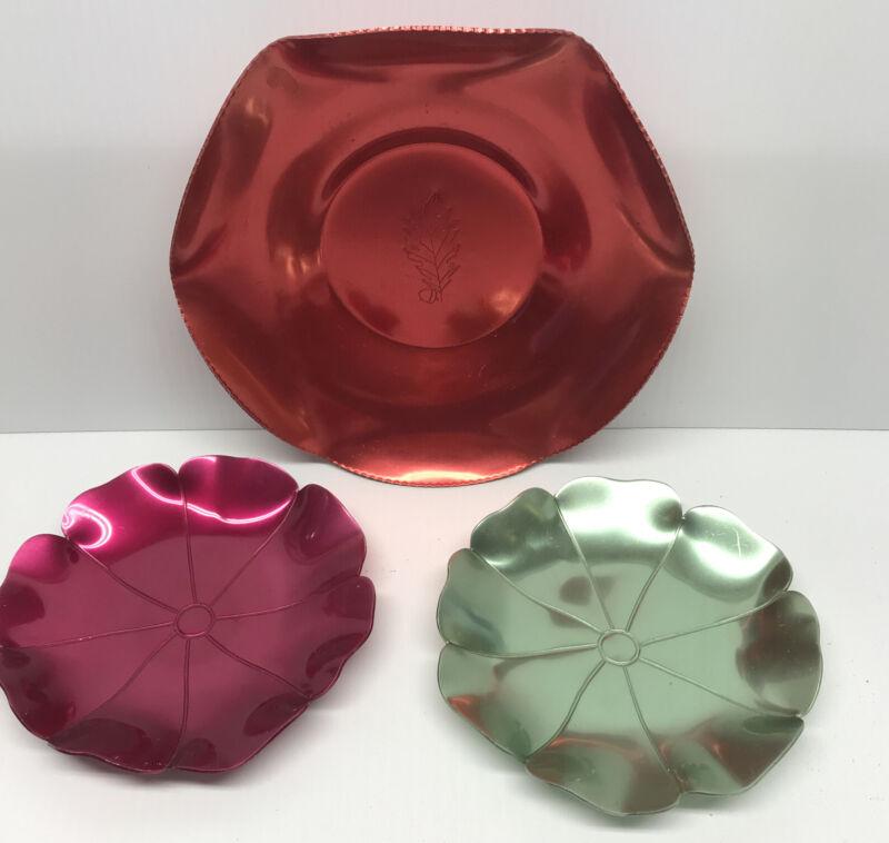 Vtg Aluminum Colored Decorative Serving Plates, Dessert Plates