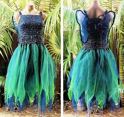 PLUS SIZE Fairy Dress Party Costume with Wings - MIDNIGHT BLUE & FOREST GREEN - Plus Size Fairy