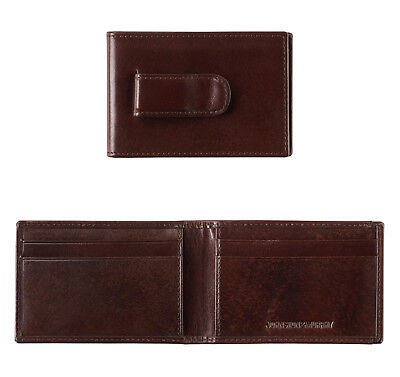 Johnston & Murphy RFID Italian Leather Two-Fold Money Clip Wallet Mahogany 13054 - Mahogany Money Clip