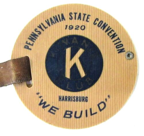 1920 KIWANIS PENNSYLVANIA STATE CONVENTION celluloid watch luggage fob & strap ^
