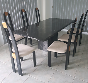 SALE OF MARBLE DINING TABLE AND 8 CHAIRS