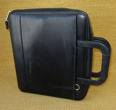 Monarchfolio 1.25 Rings Black Leather Franklin Covey Zip Plannerbinder