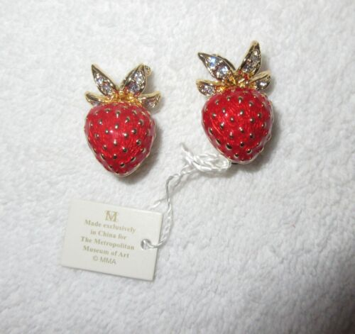 MMA Museum Strawberry Clip Earrings Gold Plated Crystal Enamel New with tag!