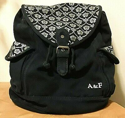 ABERCROMBIE & FITCH CANVAS BACKPACK NAVY BLUE W/SILVER GLITTERY FLOWERS