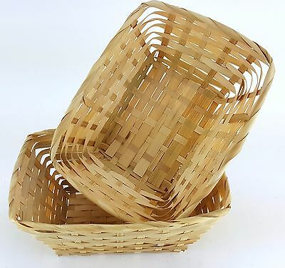 2 Pack Lot Rectangular Wicker Basket Rattan Woven Plain 4