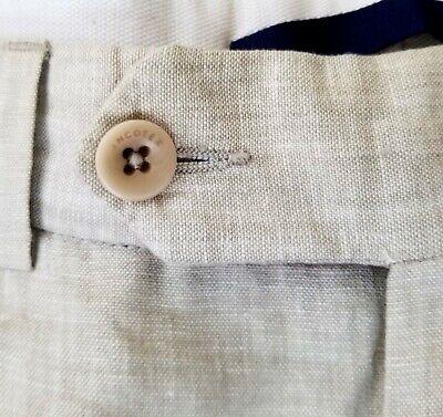 INCOTEX Mens 100% Linen Pants Dress / Casual light beige heather pleated 36 x 30