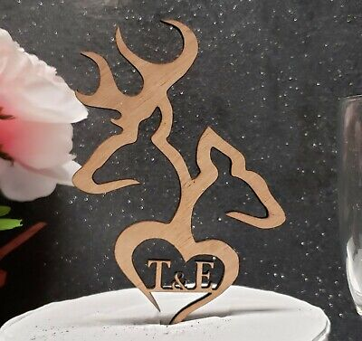 Buck and doe  cake topper, heart Initials topper, deer browning, custom wedding  - Initial Wedding Cake Toppers