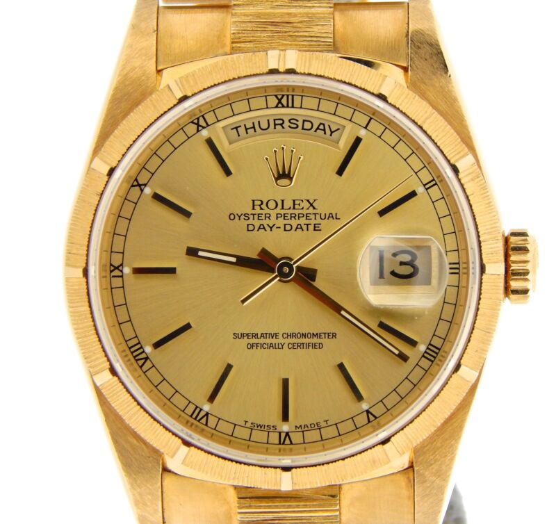Mens Rolex Solid 18k Yellow Gold Day Date President Watch Bark Champagne 18248