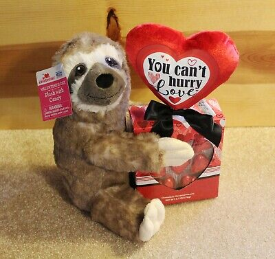 SLOTH PLUSH & CANDY Valentines Day Gift Set Brown Stuffed Animal with Chocolates