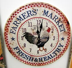 RUSTIC LOOKING ROUND WALL CLOCK  WITH CHICKEN MOTIF -15.5 WIDE -UMA-52592 C
