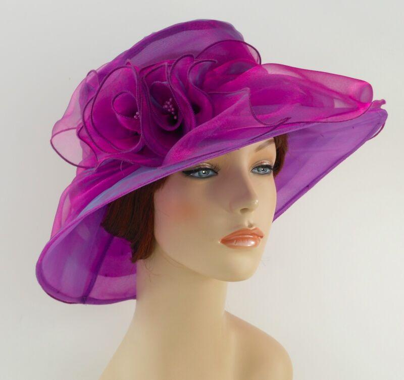New Church Kentucky Derby Wedding  Party Organza  Dress Hat 3188 Purple