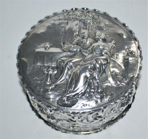 Antique Germany Hanau Solid Silver Figural Dresser Box Neresheimer & Sohne 1903