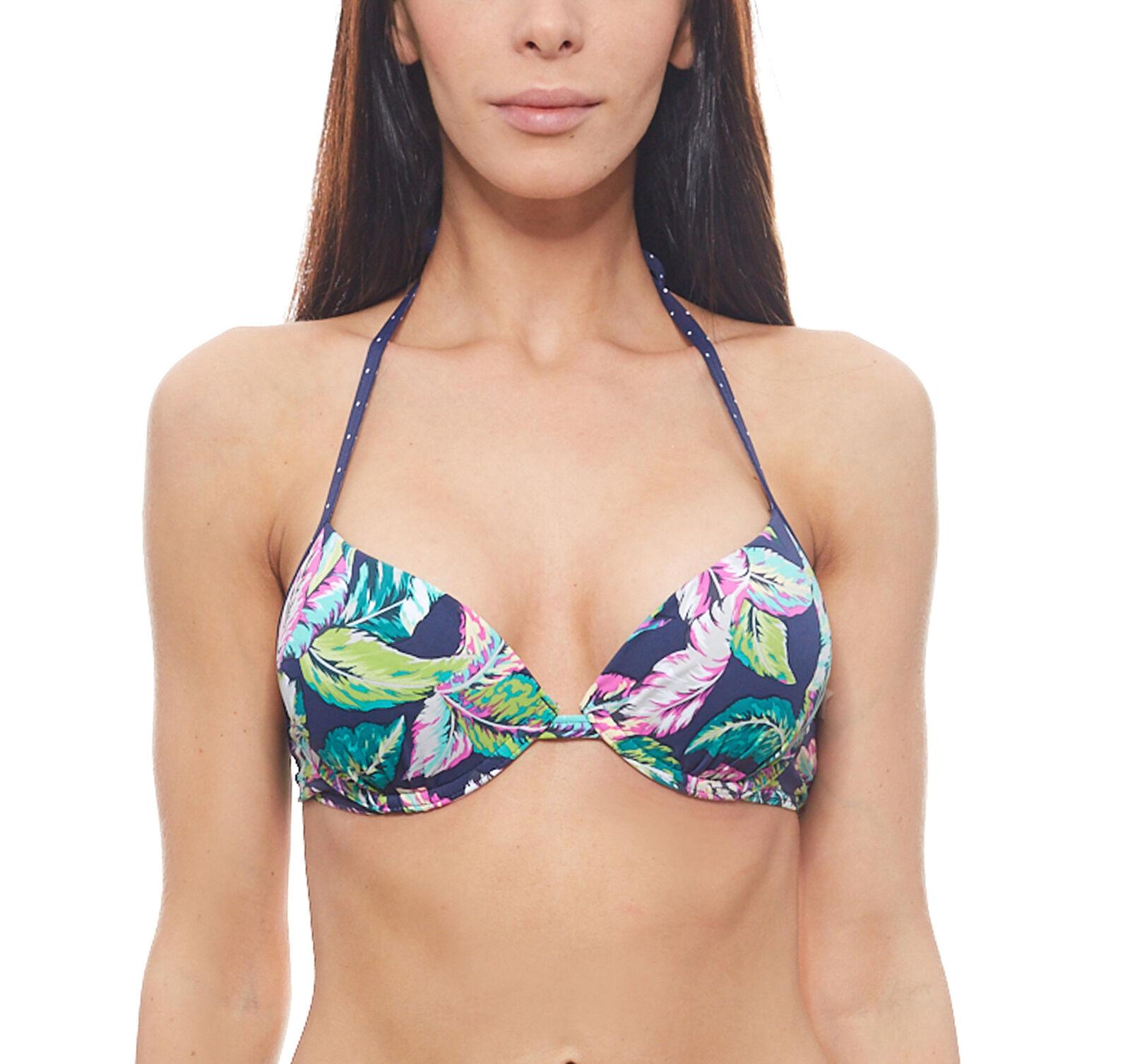sunseeker Bikini-Oberteil wattiert Damen Sommer-Push-Up-Bikini C-Cup Top Bunt