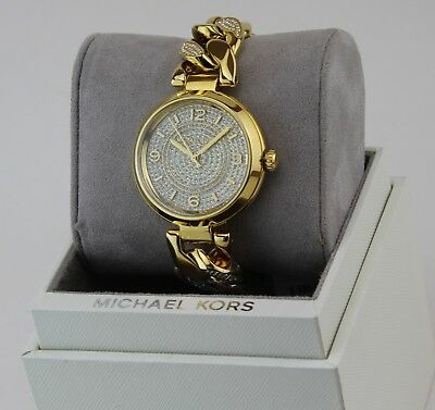 NEW AUTHENTIC MICHAEL KORS ELLIE GOLD CAMILLE CRYSTALS WOMEN'S MK3634 WATCH